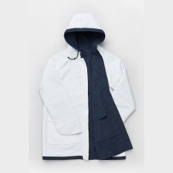 Seasalt Reversible Raincoat 10 White/Navy