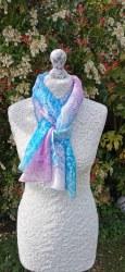 Silk Scarves by Phyllis - Pink & Cyan Light Silk Scarf