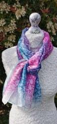 Silk Scarves by Phyllis - Teal & Rose Light Silk Scarf