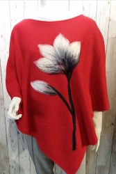 Alexa Dessign Boiled Wool Poncho - Red