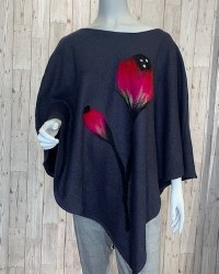 Alexa Dessign Boiled Wool Poncho - Charcoal