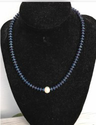 Marguerite Briggs - Navy Necklace with Single Pearl