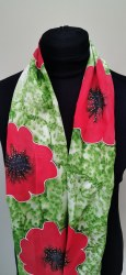 Silk Scarves by Phyllis - Red Poppy on Green Background