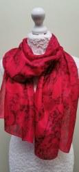 Silk Scarves by Phyllis - Red Tie Dye & Salt Effect