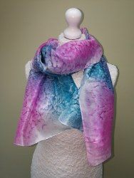 Silk Scarves by Phyllis - Teal and Rose