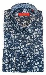 Wilson & Sloane Floral Shirt M Navy
