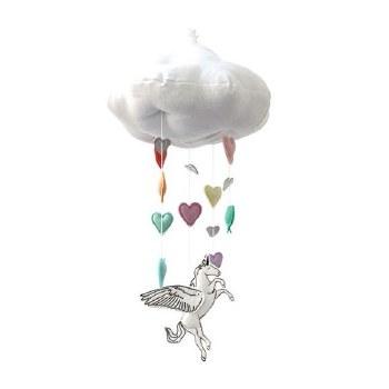 Alicorn Rainbow Cloud Mobile Silver
