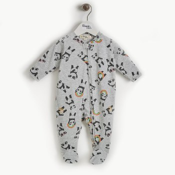 Pepper Zip Footie Panda 6-9M