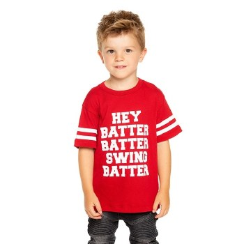 Batter Up Gauzy Tee Red 4