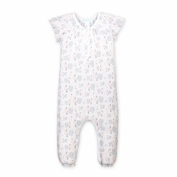 Ruched Henley Romper Peacock 3-6M