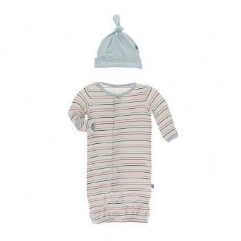 Multi Stripe Gown & Hat 3-6M