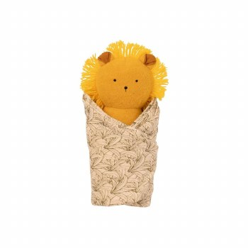 Lion Rattle and Burp Cloth