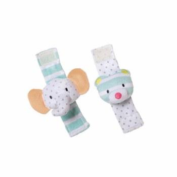 Playtime Elephant & Bear Wrist Rattle Set