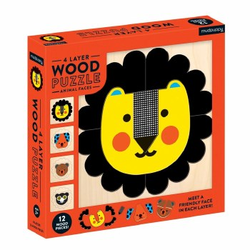 Animal Faces Wood Layer Puzzle