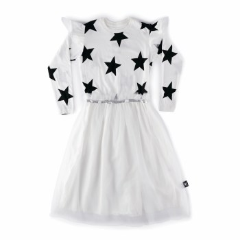 Star Tulle LS Dress Wht 3/4