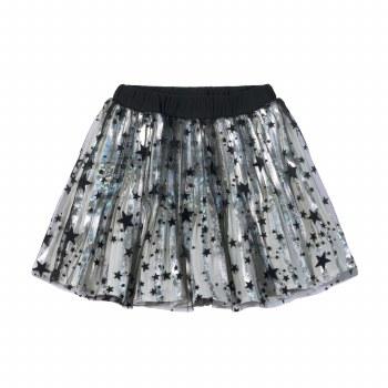 Pleated Skirt Silv/Blk Star 10