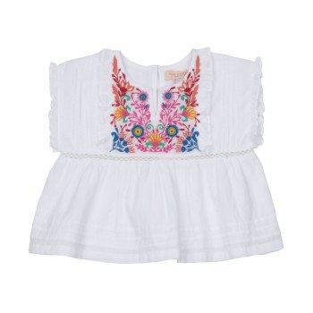 Clary Emb Top White 3