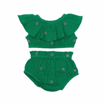 Loretta Set Green Emb 3-6M
