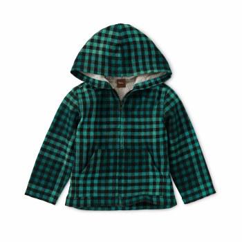 Plaid Zip Baby Hoodie Bl 3-6M
