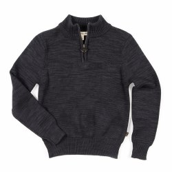 Mock Zip Sweater Charcoal 7