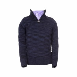 Mock Zip Sweater Navy 3