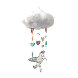 Alicorn Rainbow Cloud Mobile Silver