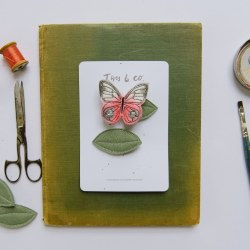 Coral Butterfly and Leaf Clips (Left)