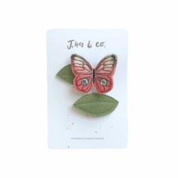Coral Butterfly and Leaf Clips (Right)