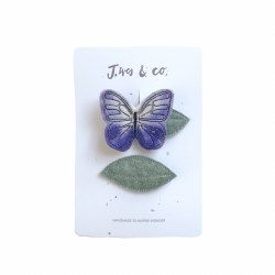 Lilac Butterfly and Leaf Clips (Left)