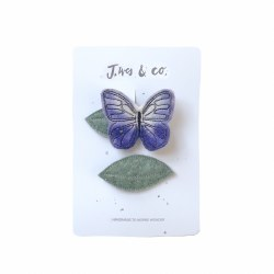 Lilac Butterfly and Leaf Clips (Right)
