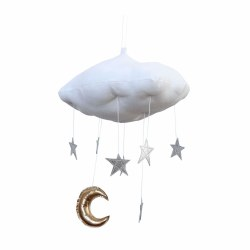 Luxe Silver Star Cloud Mobile with Gold Moon