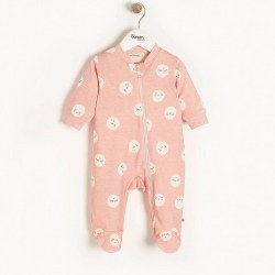 Supermoon Zip Footie Pink 3-6M