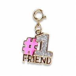 Gold Glitter #1 Friend Charm