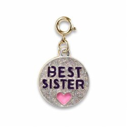 Gold Glitter Best Sister Charm