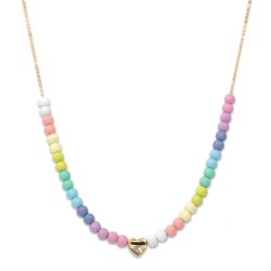 Gold Pastel Bead Necklace