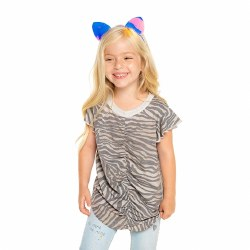 Shirred Flutter Tee Zebra 3