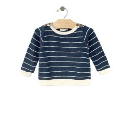 Waffle St Pullover Storm 0-3M