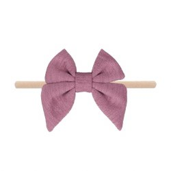 Headband Cotton Bow Mauve