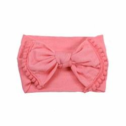 Headband Pom Pom Bow Coral