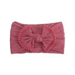 Headband Pom Pom Bow Raspberry