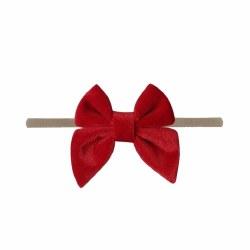 Headband Velvet Bow Red