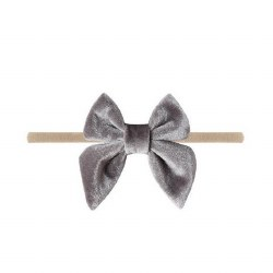 Headband Velvet Bow Grey