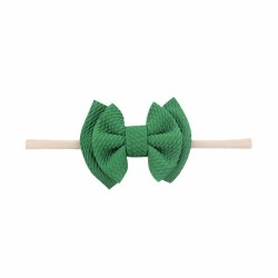 Headband Waffle Bow Green