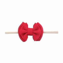 Headband Waffle Bow Red