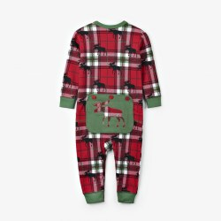 Holiday Moose Union Suit 6-12M