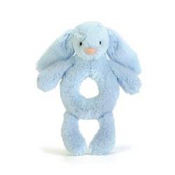 Bashful Bunny Ring Rattle Blue