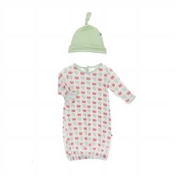 Apples Hat & Gown 0-3M