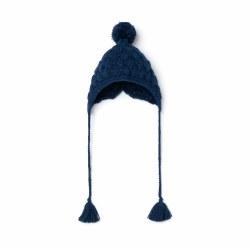 Knit Baby Hat Navy 3-6M