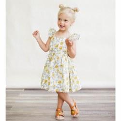 Pinafore Dress Mustard Flwr 2