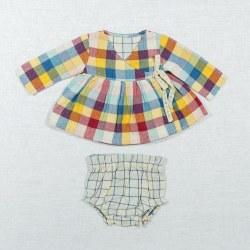 Wrap Dress Rainbow Chex 6-12M